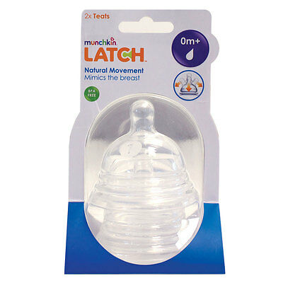 Munchkin Latch Silicone Teats Wide Neck Teats, 2 Pack. Stages 1, 2 or 3 Flow.