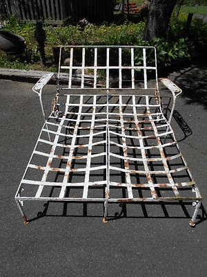 RARE&UNUSUAL Antique Wrought Iron Double Side-by-Side Chaise Lounge