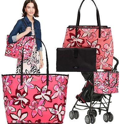 "NWT Kate Spade NY ""Surprise Coral"" Harmony Baby Diaper Bag Tote Floral NEW $328"