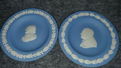 Blue and White Winston Churchill and Shakespeare Wedgwood Plates Great Condition