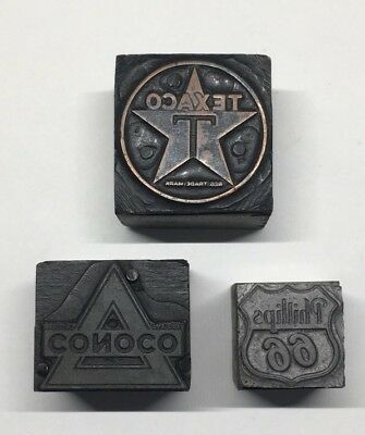 TEXACO Vintage CONOCO Printers Block Newspaper Stamp PHILLIPS66 Gas Station logo