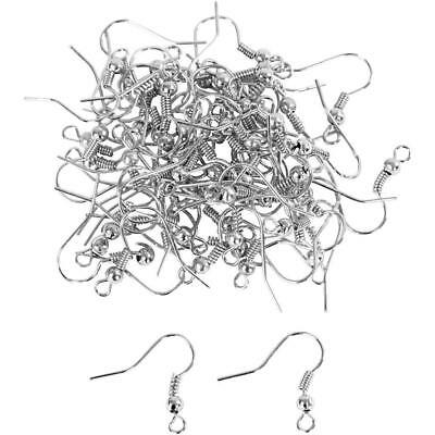 100 x Silver Plated Ear Wires Jewellery Findings Making 18mm Ball Fish Hooks