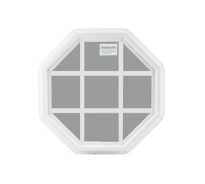 "Octagon 18"" Double Pane Window Tempered Glass Low-E PVC Frame With Grids"