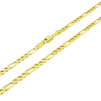 "10K Yellow Gold 4.5mm Italian Figaro Chain Link Necklace Lobster Clasp 22"" 22in"
