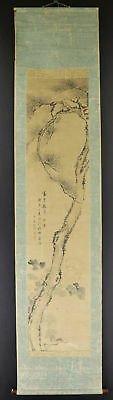 """JAPANESE HANGING SCROLL ART Painting """"Old Pinetree"""" Asian antique  #E3039"""