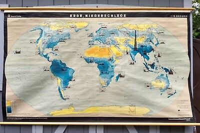 Vintage 1967 World Rainfall Pull Down School Map mid century Denoyer Haack