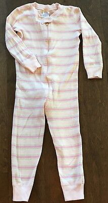 Hanna Andersson 90 or 3T Girl One Piece Pajamas, green, pink pastel stripes