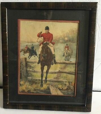 c1800's Hunting Polo Original Watercolor in Period Frame Horses Vibrant Colors