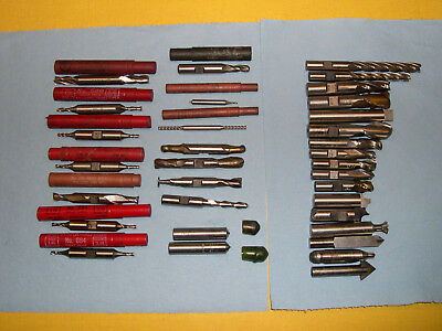 Milling Cutting Tools Lot of 32 USA Made End Mill, Double End, High Speed Steel,