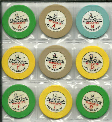 Nine Roulette Chips from the Monte Carlo Casino  in Las Vegas