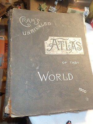 Antique 1900 Cram's Unrivaled Family Atlas of the World. Indexed