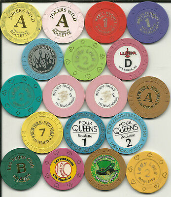 Eighteen Roulette Chips from  Casinos in Las Vegas