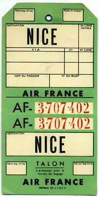 AIR FRANCE to NICE - Old & Large Airline Luggage Tag, c. 1950