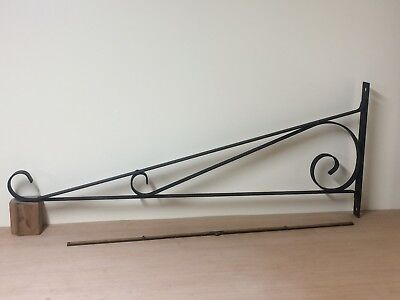 "Large Vintage Wrought Iron Sign Bracket 30-1/2"" Long,  12"" Tall Scroll Design"
