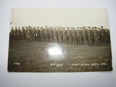 Canada WW1 CEF Military Postcard The 7th Battalion, Salisbury Plain 1914