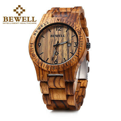 BEWELL Mens Wood Watch Casual Wooden  Wrist Watches Date Timepieces Xmas Gifts