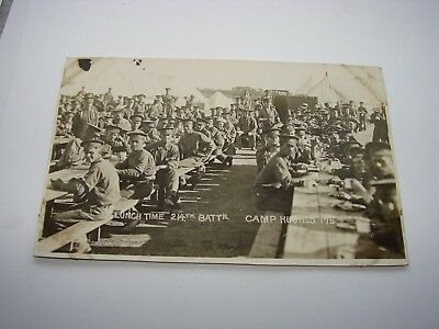 Canada WW1 CEF Military Postcard The 214th Battalion Lunch Time Camp Hughes