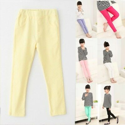Baby Kids Girls Stretch Candy Pencil Pants Casual Slim Skinny Leggings Trousers