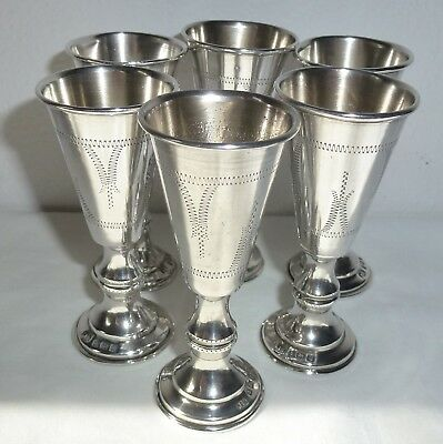 6 Vintage Year 1894 Etched English Sterling Silver Kiddush Cup, No Monogram