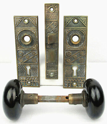 Vintage F. C. Linde & Co. Lock Set Brass Two Plates & Door Knobs Victorian Nice