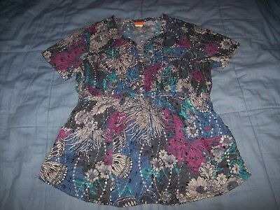 Elan By Barco Scrub Top Size Small Multi-Color Print Great Condition