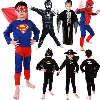 Kids Boys Cartoon Batman Spiderman Halloween Fancy Dress Cosplay Costume Outfits