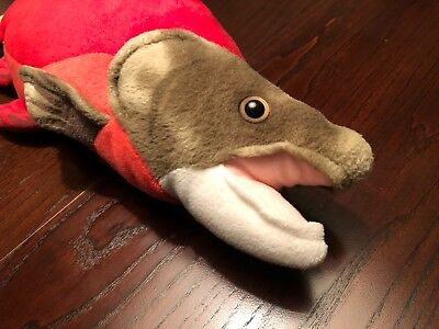 Salmon Plush High-Quality Red Green Fun Kid-Friendly 16''