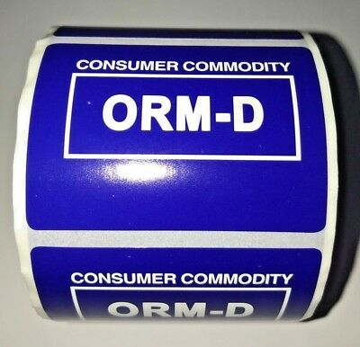 "Consumer Commodity ORM-D Labels Stickers 1""x2"" Roll of 500 Glossy Blue"
