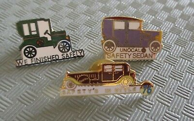 Nice 3pc UNOCAL 76 LOS ANGELES REFINERY ANTIQUE CAR SAFETY Lapel Pin Lot (AP305