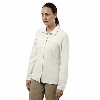 Craghoppers Donne Nosilife pro T-Shirt Manica Lunga Sale Marino Beige CWS412