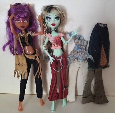 FREE SHIP! Monster High Girl DOLL CLOTHES 3 + Outfits 4 PANTS 3 TOPS SKIRT PURSE