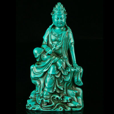 Chinese Turquoise Hand-carved Kwan-yin Statue R4017.a
