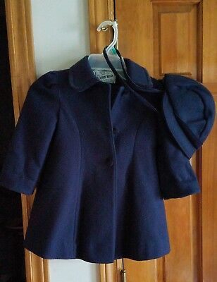 Child's Navy Rothschild Dress Coat and Hat - Size 3 toddler