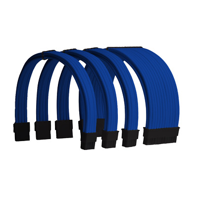 Blue Custom Sleeved PC Extensions Cable Basic Kit PSU Power
