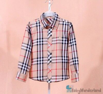 Children Boys Toddlers Classic Checked design Long Sleeves Shirt Size 2-8Years
