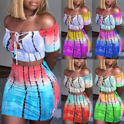 UK Women 2 Piece Bodycon Two Piece Crop Top and Skirt Set Lace Up Dress Party