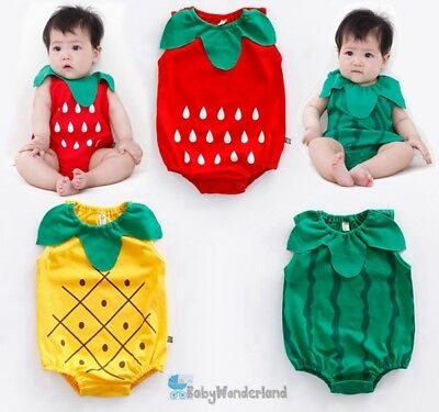 NEW Baby Boy Girl Watermelon Strawberry Costume Romper Outfit Set Size 00,0,1,2