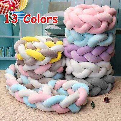 4M Baby Bedding Sheets Cushion Colorful Knot Pillow Braided Crib Bumper Decor