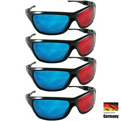 4x N-Vidia 3D-BRILLE CYAN ANAGLYPH ROT BLAU Brillen Anaglyph Glasses Kino REAL