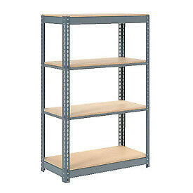 "Boltless Heavy Duty Shelving 48""W x 18""D x 72""H, 4 Shelves, Wood Deck, Lot of 1"