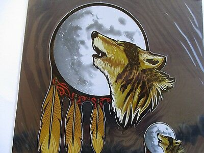 Car biker decal sticker Howling Wolf Feathers Full moon Top Quality - 2 decals