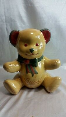 Handmade Gucci Ceramic Tan/Brown Teddy Bear with Bow Scarf Signed Coin Bank