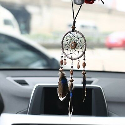 Mini Car Dream Catcher With Feathers Bead Hanging Ornaments Wall Decor Ornament