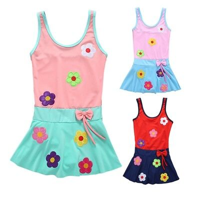 Summer Baby Kid Girl Flower Print Swimsuit Swimwear One-Piece Beach Bathing Suit