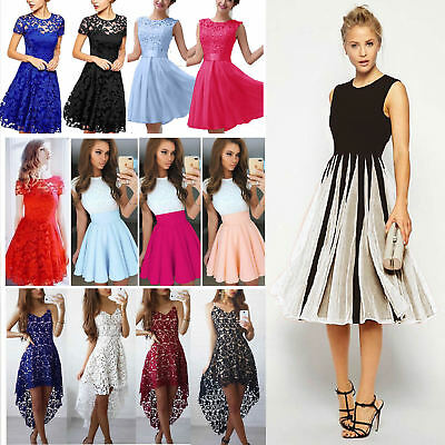 Womens Skater Dress Party Evening Cocktail Prom Bridesmaid Gown Summer Holiday