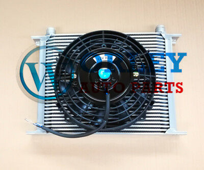 For 30 Row Engine Transmission 10AN Oil Cooler SILVER + 7 Inch Thermo Fan