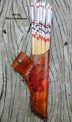 Custom Quiver 100% Handmade Belt Native American Red Indian Cow hide Pyrography