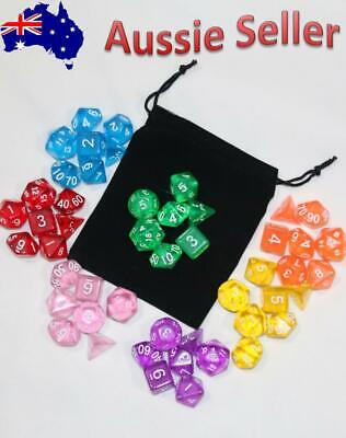 7 Piece Gem Dnd Dice Set with Bag. Polyhedral Dice for Dungeons & Dragons RPG