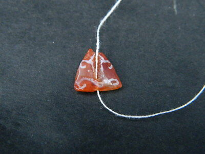 Ancient Etch Carnelian Bead Roman 200 BC NO RESERVE  #BE5058