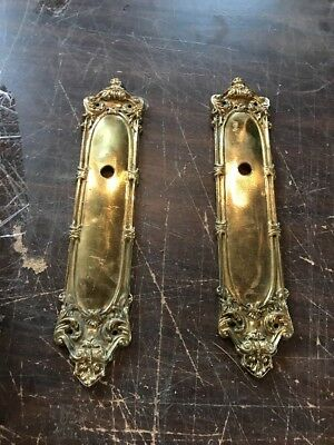 Matched Pair Antique Cast Brass Backplate for door hardware 3 1/8 x 15 1/8
